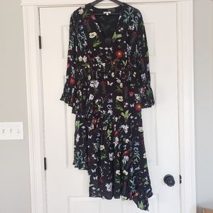 NWOT Joie Analena pleat asymmetrical midi dress